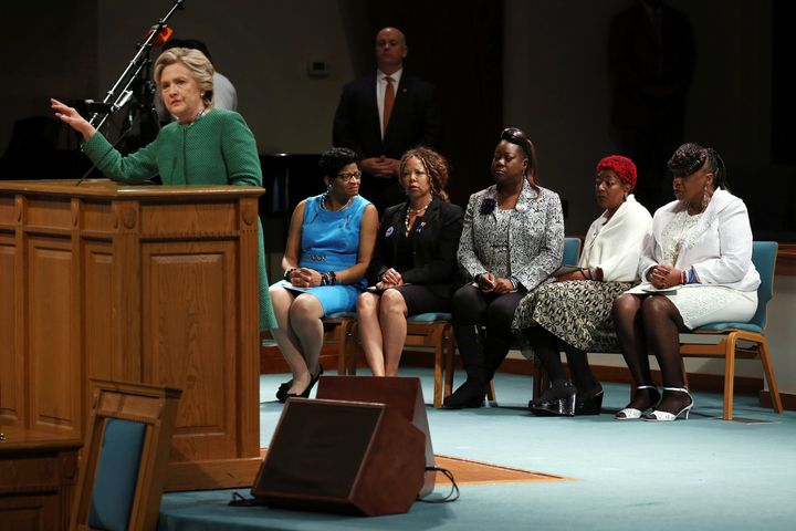 """Democratic presidential nominee Hillary Clinton speaks at a Sunday service at Union Baptist Church accompanied by """"Mothers of"""