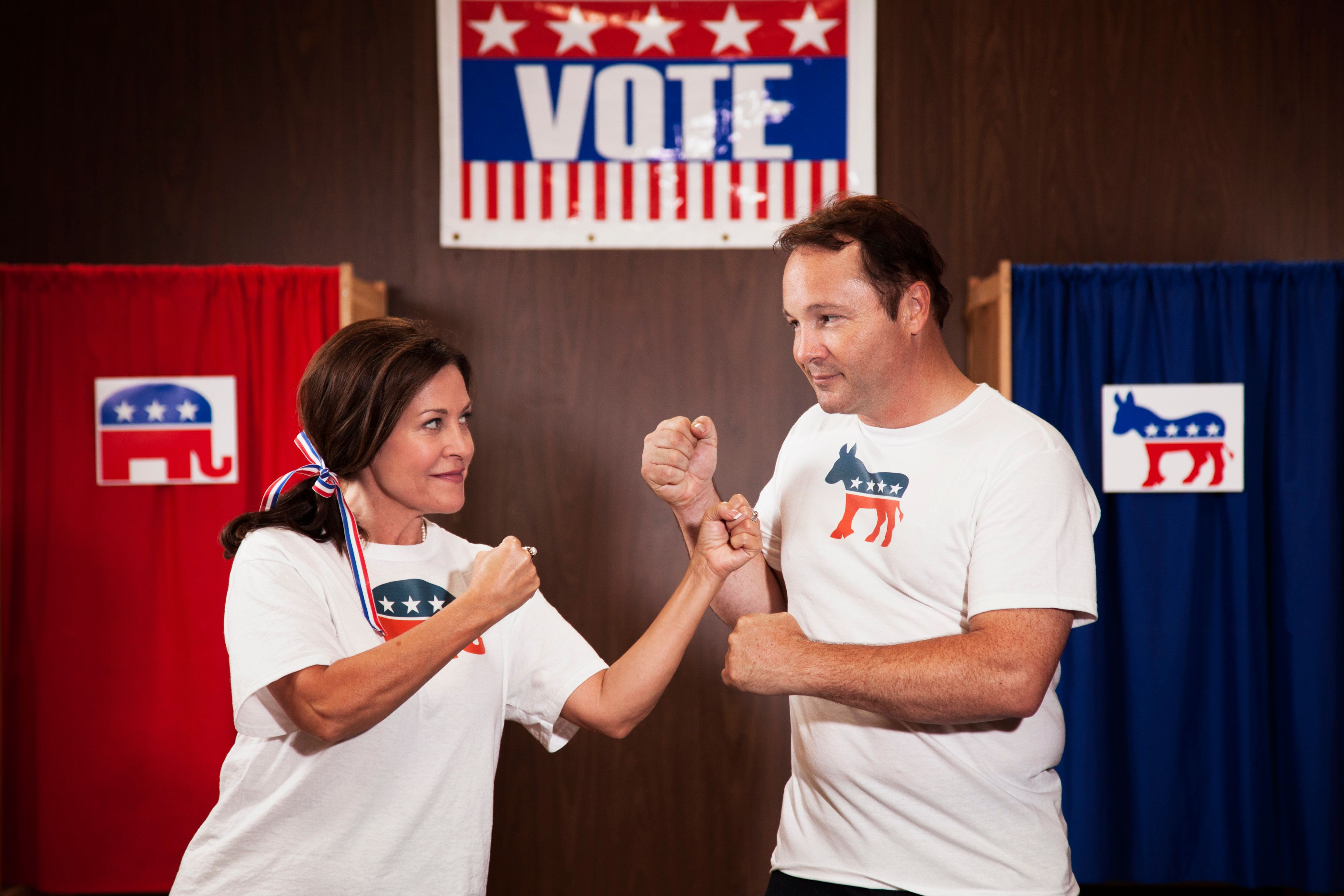 Voting couple fighting at polling place
