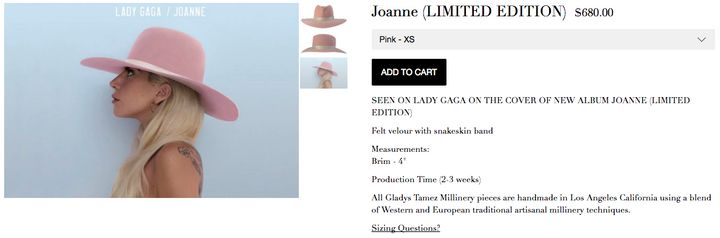 "Lady Gaga has recently been seen wearing the ""Lady Joanne"" hat, by milliner Gladys Tamez, which can be yours for $680."