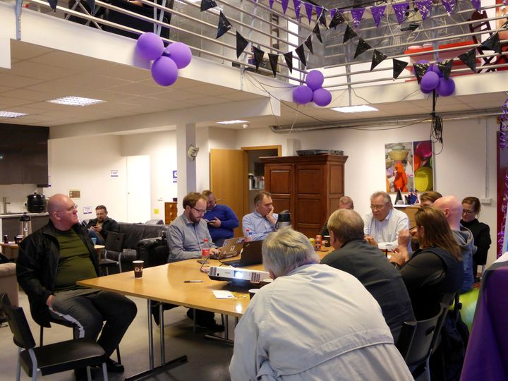 Members of the Icelandic Pirate Party gather at the party's headquarters in Reykjavik, Iceland, on Sept. 19.