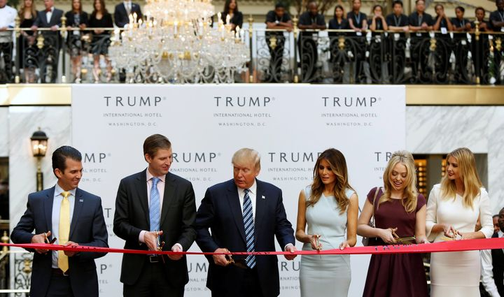 "Donald Trump and his family&nbsp;cut the ribbon on&nbsp;a new Trump International Hotel in Washington, D.C. on Wednesday in what the New York Times called another ""<a href=""http://www.nytimes.com/2016/10/27/us/politics/donald-trump-brand-promotions.html?_r=1"" target=""_blank"">remarkable display of personal promotion by a presidential nominee</a>."""