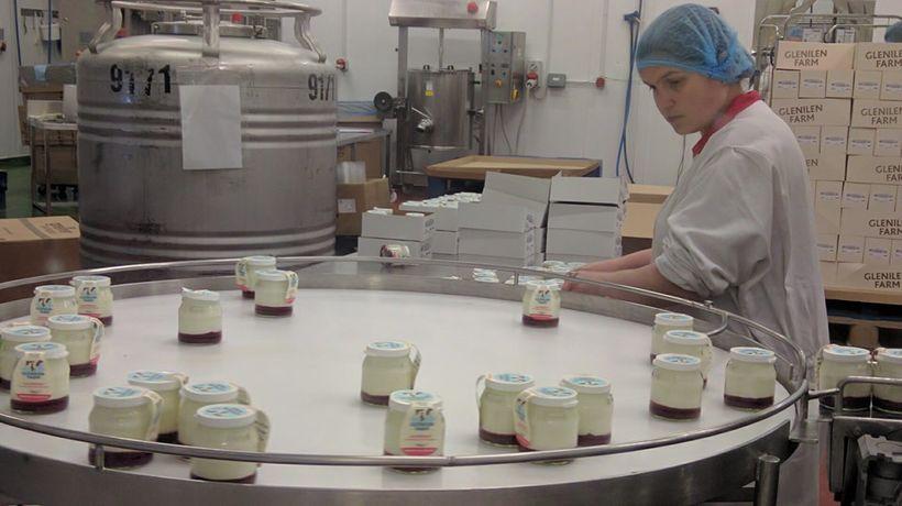 Glenilen yoghurt is packed in glass bottles