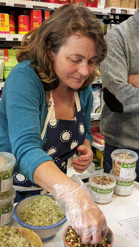 Christine Meadows serves sprouts