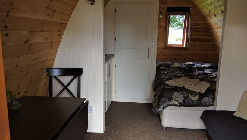 Self-catering pods are comfortably furnished