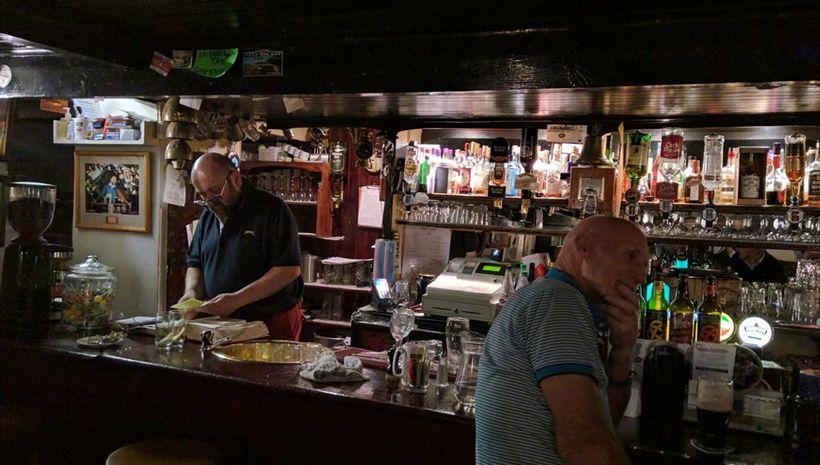 Fergus tends bar at Mary Ann's