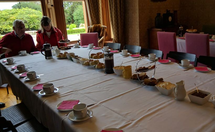 In the dining room we were served  scones and clotted cream (!)