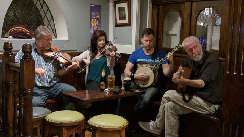 Musicians played traditional Irish tunes