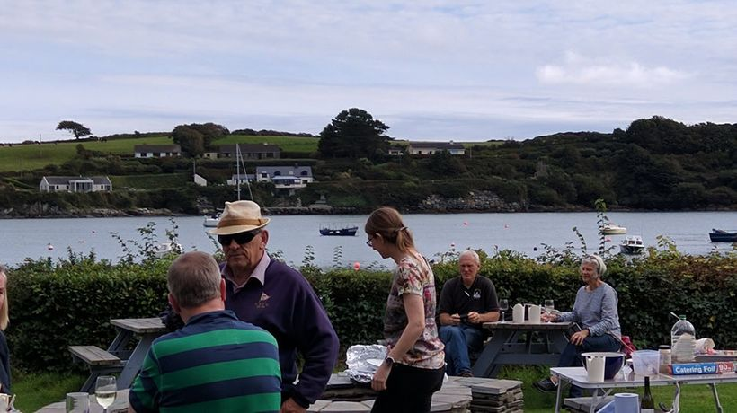 Seafood paella was served on the castle lawn