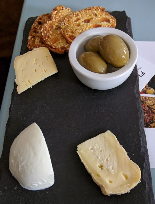 Three local cheeses were served for sampling
