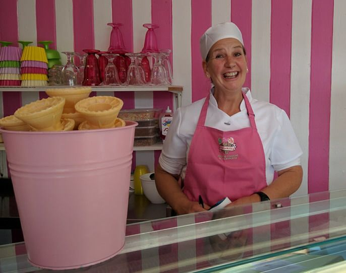 Caroline Elliott makes each batch of ice cream