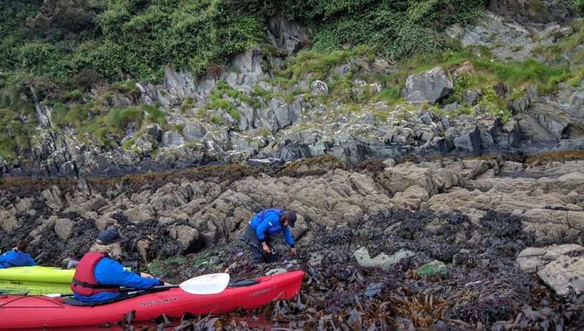 Maria scrambled on the rocks collecting samples