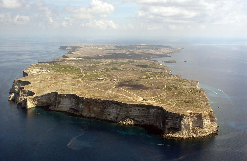 An aerial view of Italy's Lampedusa