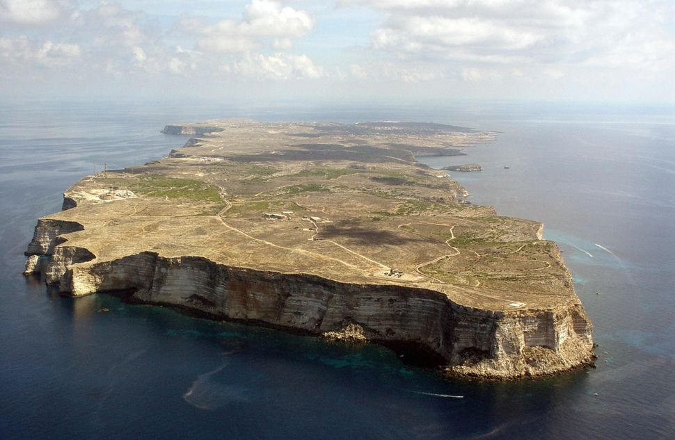 An aerial view of Italy's Lampedusa island.