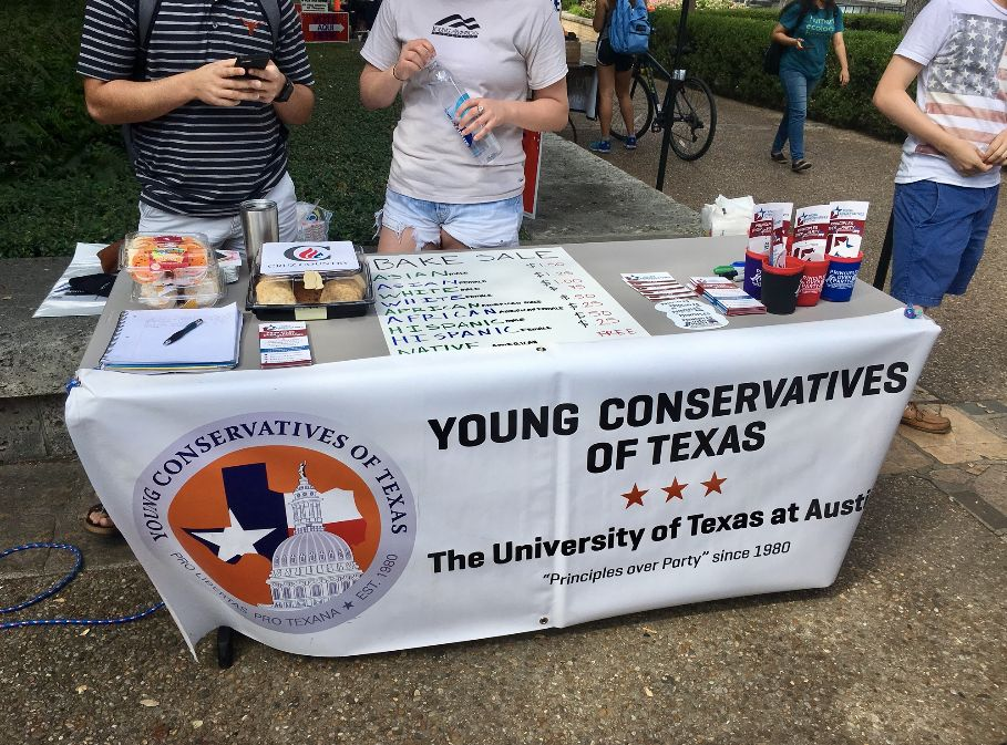 "A conservative student group hosted an ""Affirmative Action Bake Sale"" at the University of Texas at Austin."