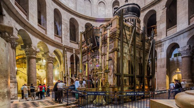 The Church of the Holy Sepulchre, where a stone slab said to have held the body of Jesus Christ...
