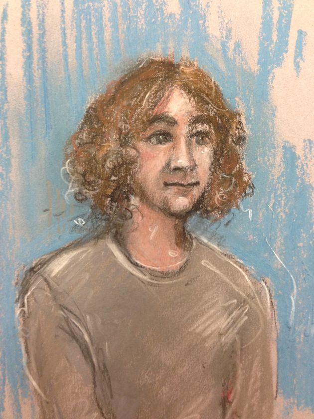A court sketch of Damon Smith who is accused of possessing a 'viable' explosive which was found on a...