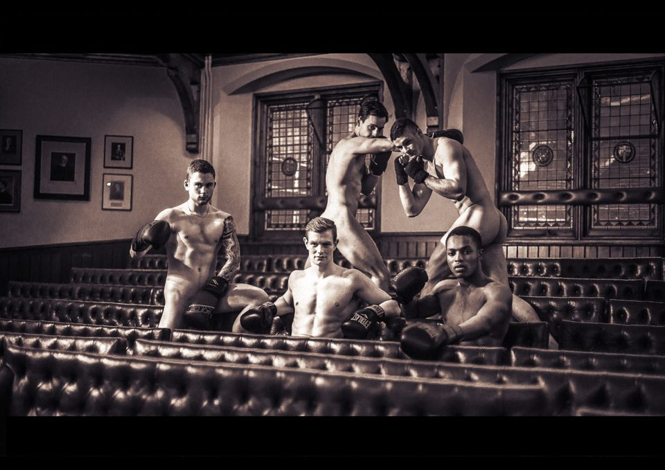 The university's boxing team spar in the nude to raise cash for refugees from around the