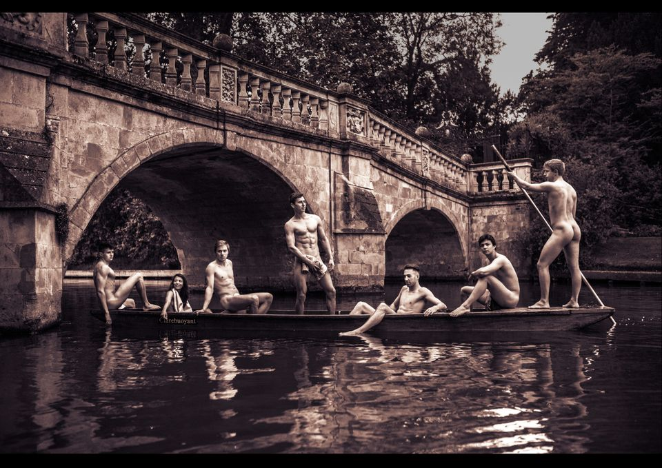 Cambridge's swimming team gave tourists an eyeful while punting on the River
