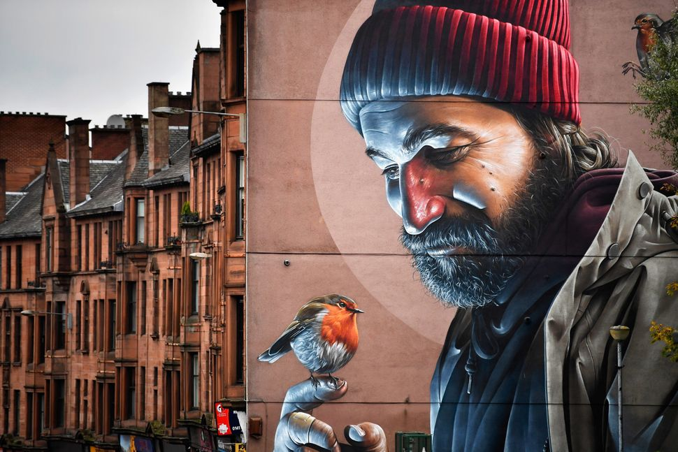 A view of one of the latest murals near Glasgow Cathedral.