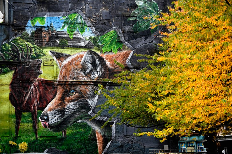 A general view of the mural overlooking Ingram Street car park.