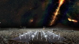 A radio color view of the sky above a tile of the Murchison Widefield Array radio telescope in outback Western Australia The Milky Way is visible as a band across the sky The dots beyond are some of the 300000 galaxies observed by the telescope for the GLEAM survey Red indicates the lowest frequencies green the middle frequencies and blue the highest frequencies