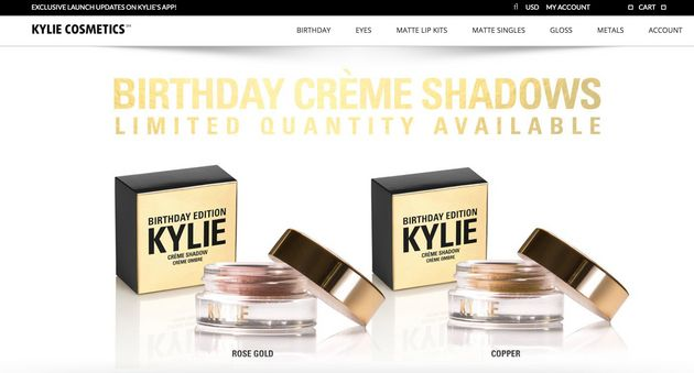 The homepage of a website Kylie Jenner says is NOT affiliated with her and is selling counterfeit
