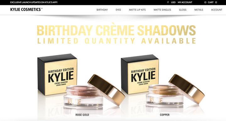 The homepage of a website Kylie Jenner says is NOT affiliated with her and is selling counterfeit products.