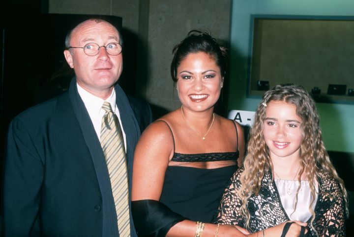 Phil Collins with wife Orianne Cevey and his daughter Lily in 2000.