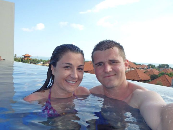 <p>Us at our rooftop pool in Bali</p>