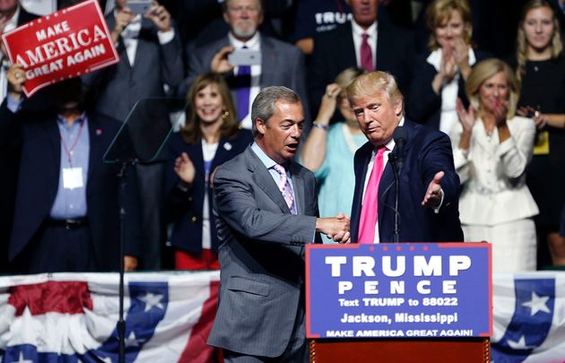 Donald Trump welcomes Nigel Farage to speak at a campaign rally in Jackson,