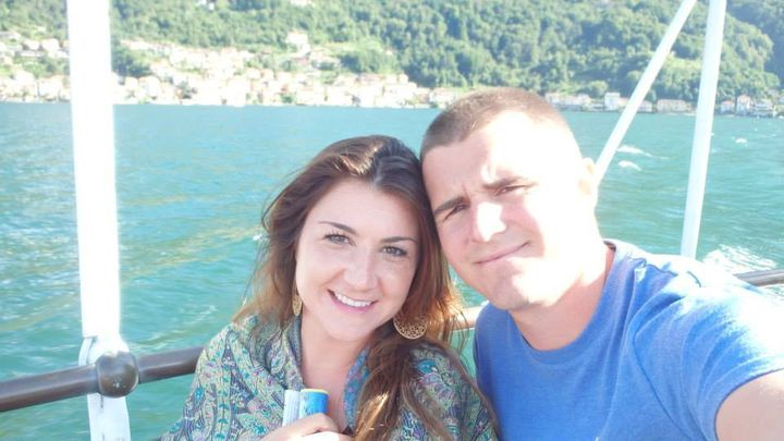<p>Us on the ferry to Lake Como, Italy</p>