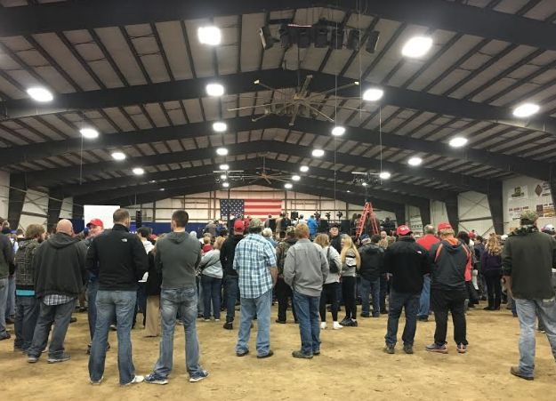 Trump supporters came out to hear their candidate. But the venue wasn't entirely full.