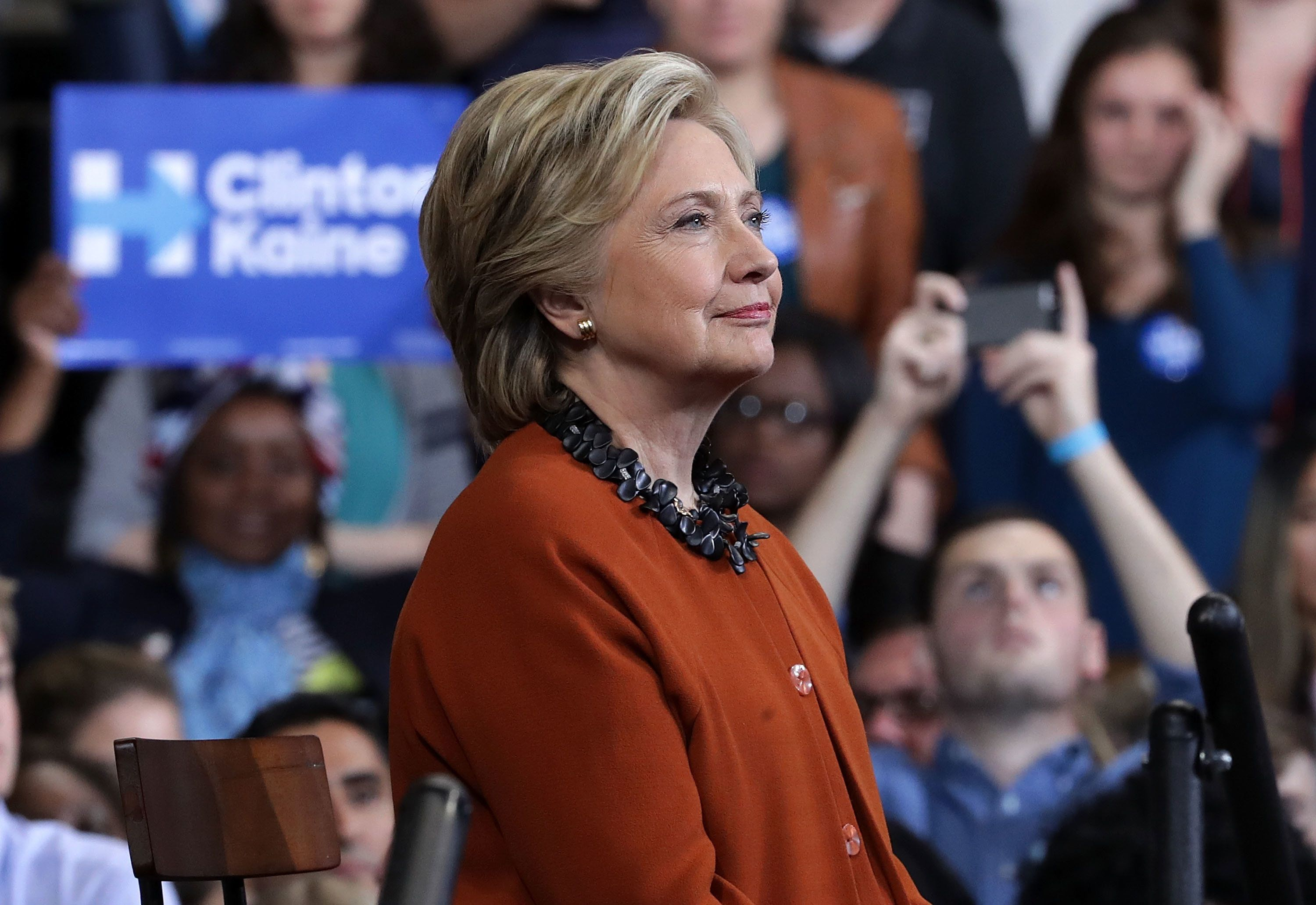 WINSTON-SALEM, NC - OCTOBER 27:  Democratic presidential candidate Hillary Clinton listens during a campaign event at the Lawrence Joel Veterans Memorial Coliseum October 27, 2016 in Winston-Salem, North Carolina. U.S. first lady Michelle Obama joined Clinton for the first time to campaign for the presidential election.  (Photo by Alex Wong/Getty Images)