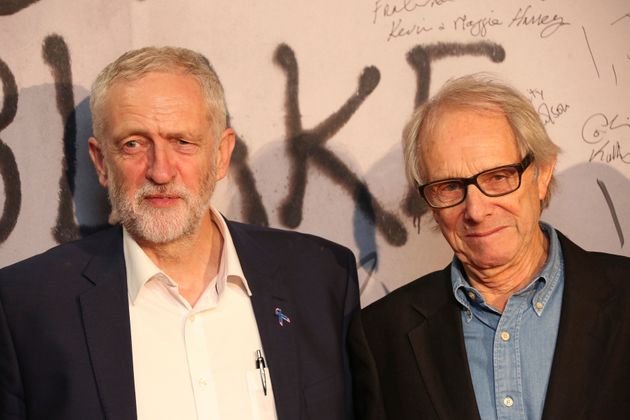 Ken Loach and Jeremy Corbyn pose together for photographers upon their arrival at the premiere of the...