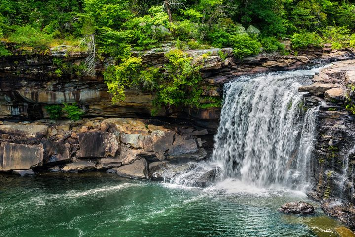 A waterfall gushing at Little River Canyon National Preserve in northern Alabama.