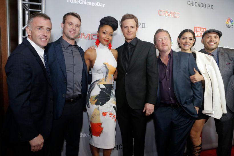 "NBCUNIVERSAL EVENTS -- ""One Chicago Day"" -- Pictured: (l-r)  David Eigenberg, Jesse Spencer, Yaya DaCosta, Nick Gehlfuss, Chr"
