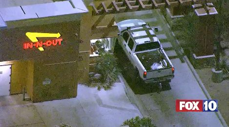 It's pretty rare that someone stops for a burger during a police chase.