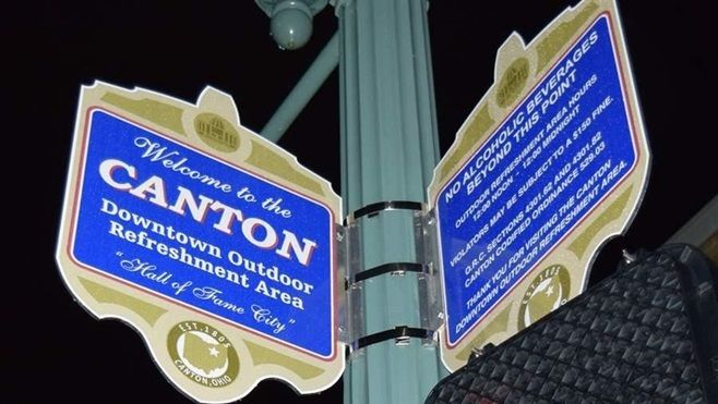 A sign marks the area where public drinking is legal in downtown Canton, Ohio.