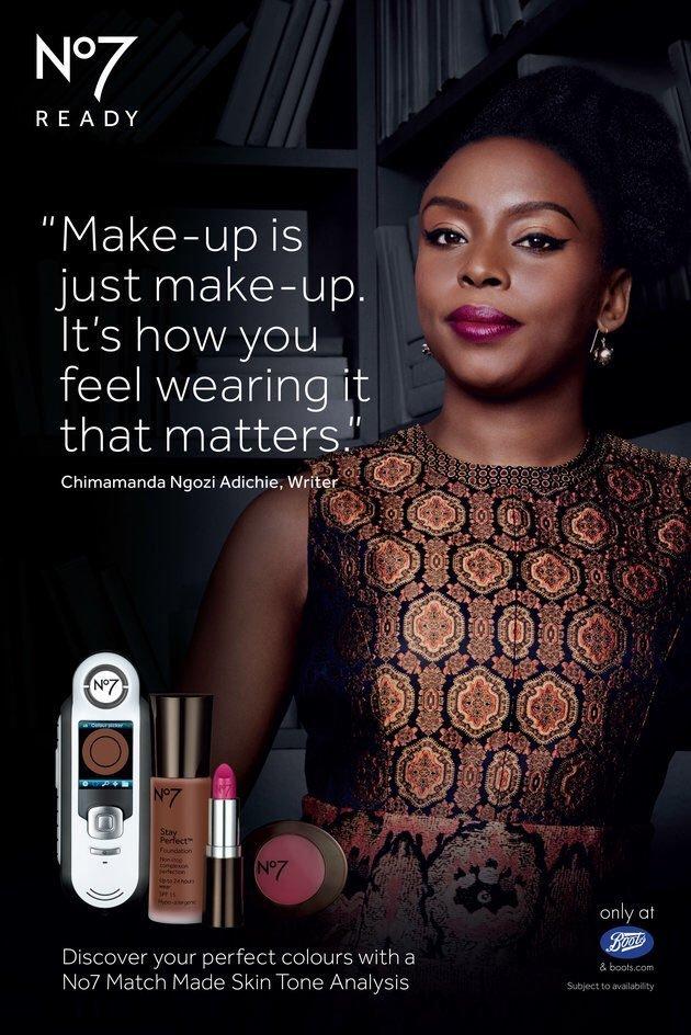 Chimamanda Ngozi Adichie is the new face of Boots No7 make-up campaign.