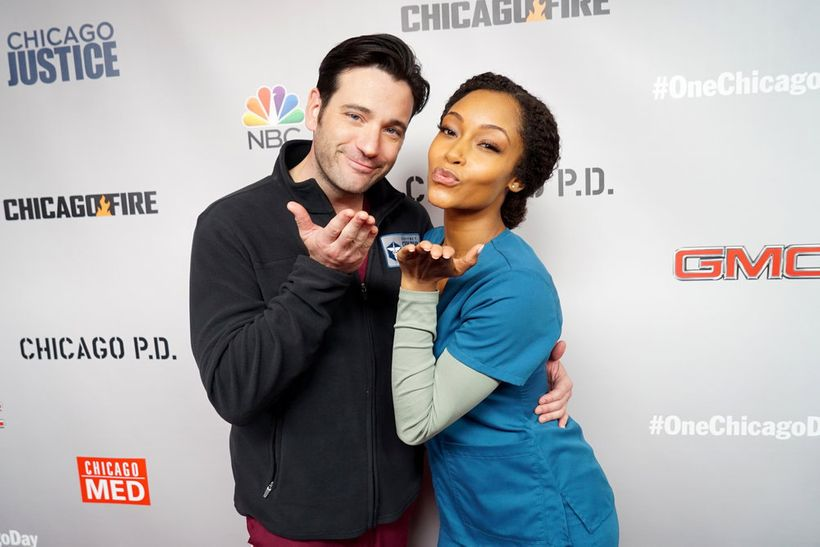 """NBCUNIVERSAL EVENTS -- """"One Chicago Day"""" -- Pictured: (l-r) Colin  Donnell, """"Chicago Med"""" and Yaya DaCosta, """"Chicago Med"""" at"""