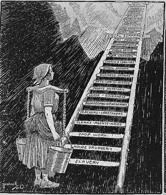 "This cartoon shows a young woman carrying buckets and looking up at a ladder ascending up to the sky, bottom rungs labeled ""s"