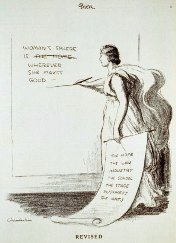 "A cartoon showing a woman revising the statement ""Woman's sphere is the home"" to ""Woman's sphere is wherever she makes good."""