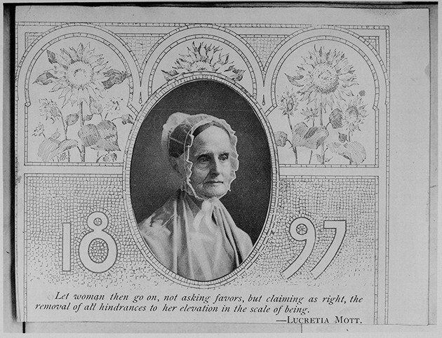 "Lucretia Mott was an American women's rights activist and a social reformer. The image features a quote from Mott: ""Let women"