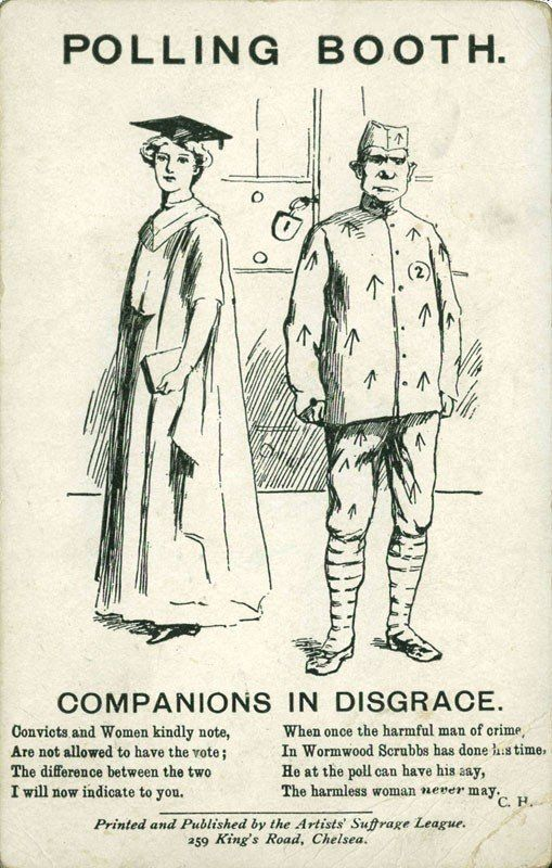 "A woman in a graduation cap and gown stands next to a man dressed like a ""convict."" Below the illustration it reads: ""Co"
