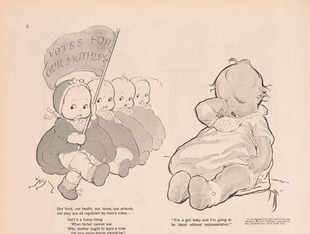 "An illustration shows infant dolls also known as ""Kewpies."" One is holding a banner that states ""Votes for Our Mothers,"""
