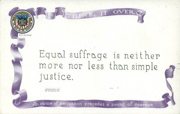 A postcard from the National American Woman Suffrage Association (NAWSA), which was formed in May 1890 when the American Woma