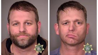 Inmates Ammon Bundy (L) and his brother Ryan Bundy are seen in a combination of police jail booking photos released by the Multnomah County Sheriff's Office in Portland, Oregon January 27, 2016. One protester was shot dead and eight others were arrested on Tuesday after authorities confronted members of an armed group that has staged a month-long occupation of a federal wildlife reserve in Oregon, activists and officials said.  REUTERS/MCSO/Handout via Reuters TPX IMAGES OF THE DAYFOR EDITORIAL USE ONLY. NOT FOR SALE FOR MARKETING OR ADVERTISING CAMPAIGNS. THIS IMAGE HAS BEEN SUPPLIED BY A THIRD PARTY. IT IS DISTRIBUTED, EXACTLY AS RECEIVED BY REUTERS, AS A SERVICE TO CLIENTS