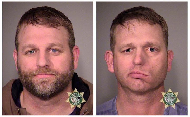 Inmates Ammon Bundy (L) and his brother Ryan Bundy are seen in a combination of police jail booking photos released by the Mu