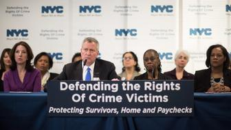 Mayor Bill de Blasio, First Lady Chirlane McCray, Council Member Ferreras-Copeland and the NYPD announce a package of policies to protect domestic violence survivors, their livelihoods and their homes on Wednesday, October 26, 2016. Michael Appleton/Mayoral Photography Office