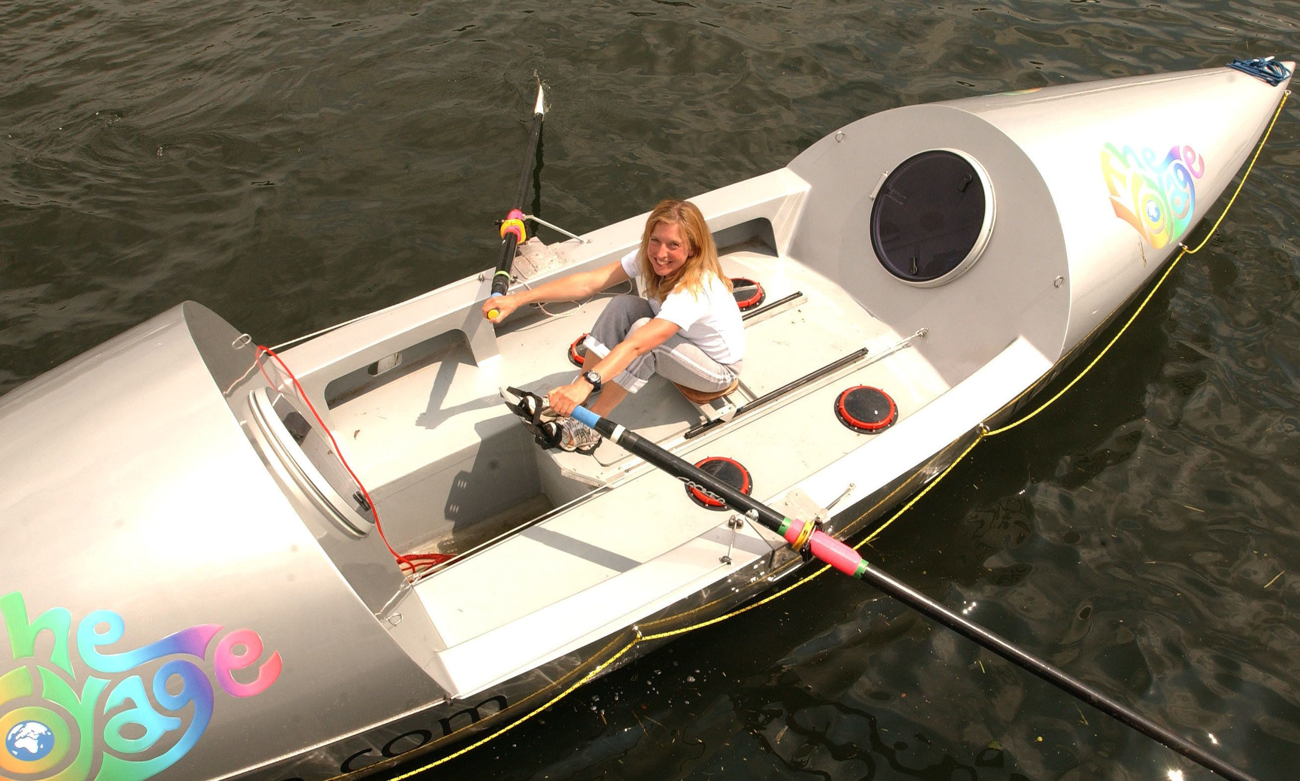 Roz Savage in June 2005, in her rowing boat at Henley-on-Thames, where she was practicing for her attempt to row across the Atlantic Ocean. She since has crossed both the Atlantic and Pacific, and plans to traverse the Indian Ocean in March.  (Photo by John Stillwell/MCT/MCT via Getty Images)